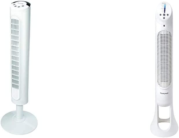 Honeywell White Comfort Control Tower Fan, Slim Design, Powerful Cooling, 1 Pack & Quiet Set Whole Room Tower Fan