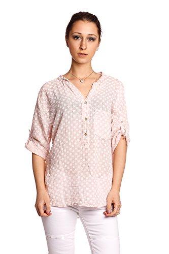 Abbino 8393 Camisas con Puntos Blusas Tops para Mujeres - Hecho en ITALIA - 6 Colores - Entretiempo Primavera Verano Otoño Mujeres Femeninas Elegantes Manga Larga Casual Oficina Fiesta Rebajas Rosa