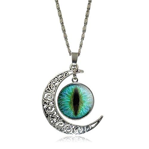 Elakaka Moon Time Gemstone Retro Eye Pupils Pendant Sweater (Crown Trifari Clip)