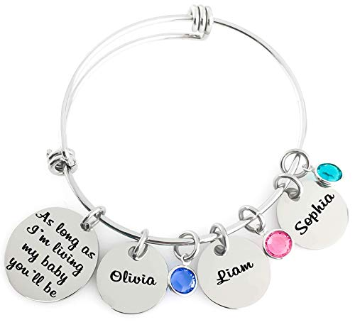 Bangle - As long as I'm living my baby you'll be - Name Pendants and Birthstone Crystals