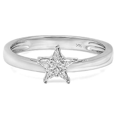0 15 Carat Ctw 14k White Gold Noble Cut Diamond Star Shaped 5