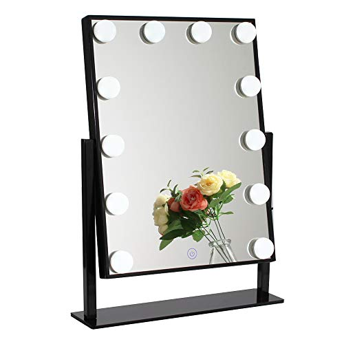 (Chende Glossy Black Lighted Vanity Mirror with Dimmable LED Bulbs, Hollywood Style Makeup Mirror with Lights for Touch Control Design, 3 Different Lighting Settings (4030 Black))