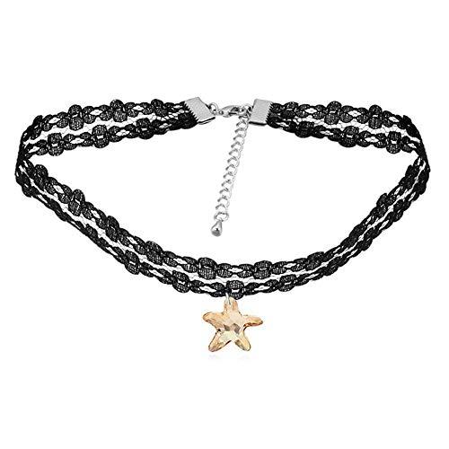 (Mayanyan Fashion Austrian Crystal Starfish lace Necklace Choker Lady Gift)