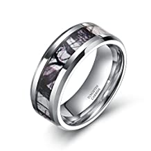 6mm 8mm Tungsten Winter Branch Camouflage Inlay Hunting Ring Wedding Band for Men Women