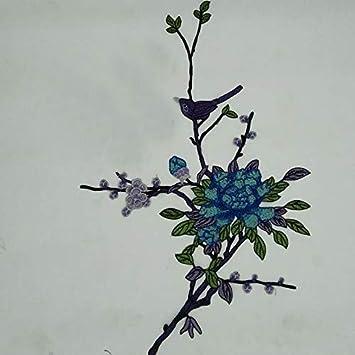 Ruikey Parches Tela Flores Bordado De P/ájaro Bordado De Cheongsam Costura De Apliques Pegatinas De Parche Para Camiseta Jeans Sombrero Pantalon Bolsas Diy Azul