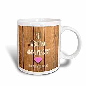 "3dRose mug_154433_5 ""5Th Wedding Anniversary Gift Wood Celebrating 5 Years Together Two Tone Red"" Mug, 11 oz, Red/White"
