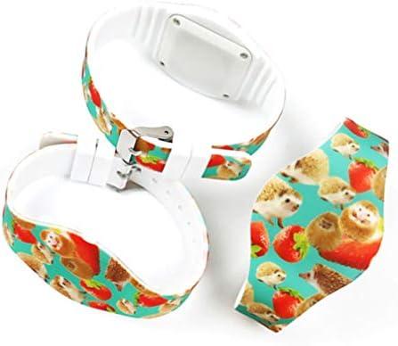 Hemobllo Enfants LED Montre Fraise Montre Animal Montre-Bracelet Électronique Silicone Montre pour Enfants Étudiant Sport Montre