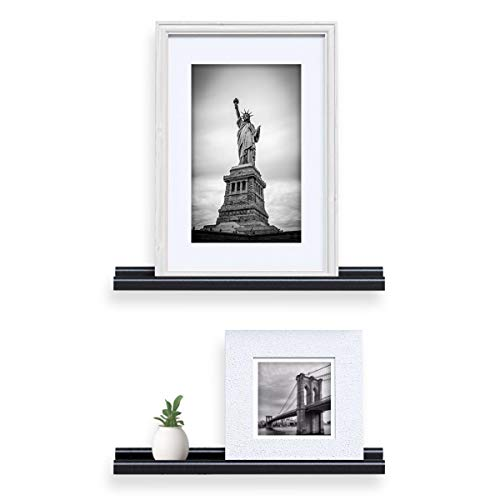Wallniture Wall Mounted Floating Shelves - 22 Inch Contemporary Design Picture Ledges Display Black Set of 2