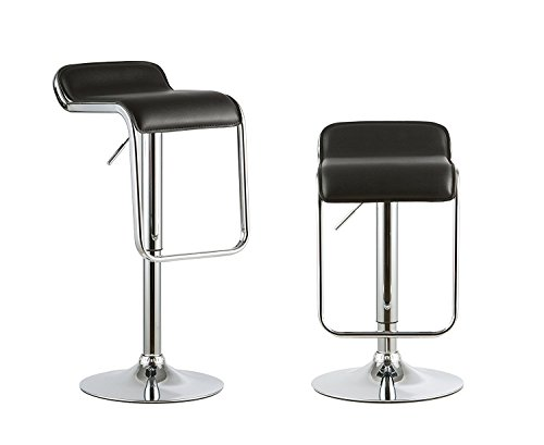 Waroom Home Barstools Set of 2, Adjustable Height Swivel Pub Bar Stools with PU Leather Seat and Chrome Footrest, Backless Breakfast Kitchen Chair C- Black