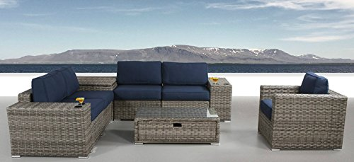 Garden Oasis Furniture (Patio Furniture Sunbrella Cushion | PE Rattan Outdoor Wicker Sectional Conversation Black Washable Seat Cushions & Glass Coffee Table | Patio, Backyard, Antibes Collection (9 Piece Coffee Table))