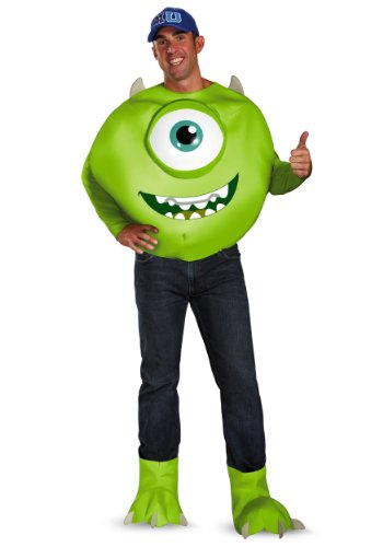Disguise Men's Disney Pixar Monsters University Mike Deluxe Costume, Green/White/Blue, XX-Large/50-52]()
