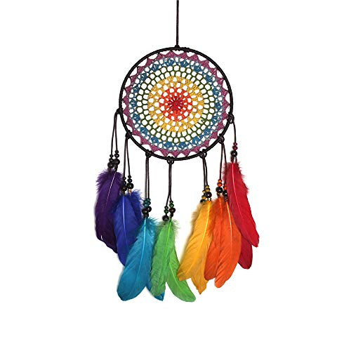 Yakun Dream Catchers for Bedroom Dream Catcher Handmade Traditional Dream Net Rainbow Feather Colorful Wall Hanging Ornament Home Decor Craft