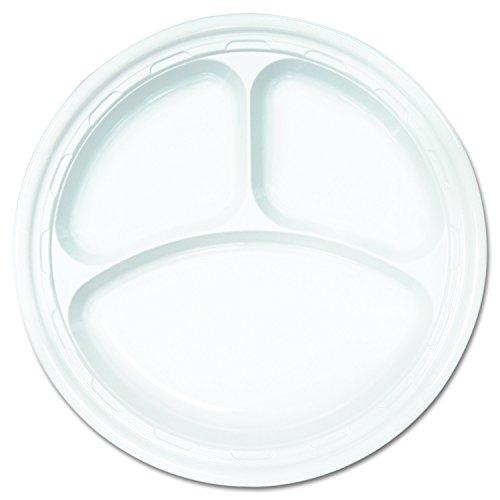 Dart 10CPWF Famous Service Plastic Dinnerware, Plate, 3-Comp, 10 1/4