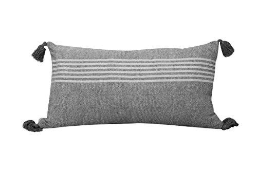 Urban Loft by Westex Heathered Stripe Black & Silver Feather Filled Decorative Throw Pillow Cushion 14