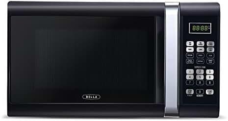 Bella 1000-Watt Microwave Oven, 1.1 Cubic Feet, Black with Chrome