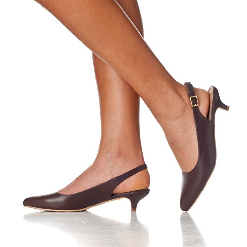 Riverberry Women's Low Sling Pointed Bella Pump Back Toe Pu Heels Height Coffee wwdfr6Zq