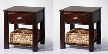 Nachttisch Kolonialstil 2x beistelltisch nachttisch mahagoni korb schublade kolonial