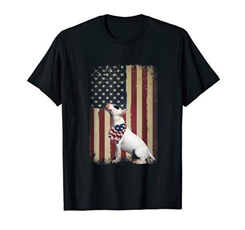 Bull Terrier 4th of July America Dog Flag Patriotic - Terrier Black T-shirt Bull