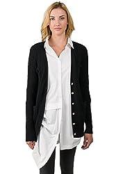 J Cashmere Women S 100 Cashmere Cable Knit V Neck Long Cardigan Sweater Black Medium
