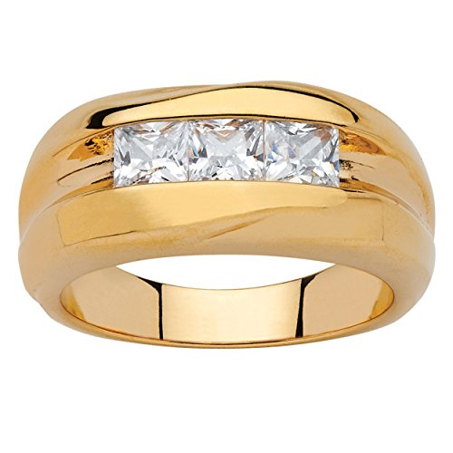 Men's Square-Cut White Cubic Zirconia 18k Gold-Plated Channel-Set Grooved Ring Size 10 Diamonique Channel Set