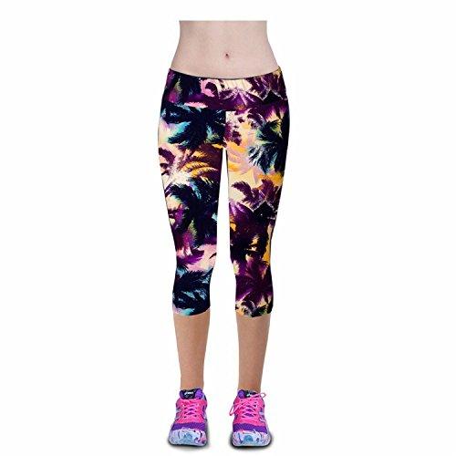 M RACLE Women's Print Active Workout Yoga Capri Leggings Stretchy Tights Pants