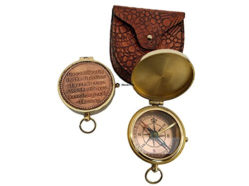 US HANDICRAFTS Ideas Xmas Present Black Friday Personalized Gifts for Her Cyber Monday - Thoreau's Go Confidently Quote Compass by US HANDICRAFTS
