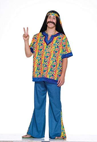 Forum Novelties Men's 60's Revolution Hippie Far Out Man Costume, Multi, Standard for $<!--$18.21-->