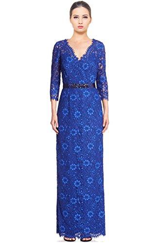 Teri Jon Embellished Lace 3/4 Sleeve Evening Gown Dress