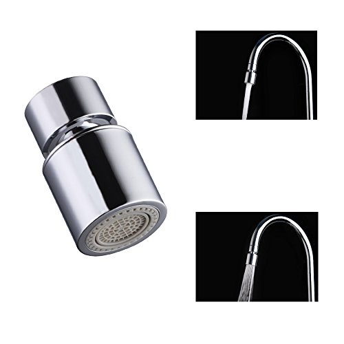 Dual-function Faucet Aerator with 360-Degree Swivel, 55/64 Inch - 27UNS Female Thread, Chrome by MSKEI