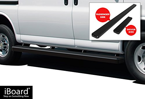 "APS iBoard Running Boards 5"" Matte Black Custom Fit 2003-2019 Chevy Express/GMC Savana 1500/2500/3500 Full Size Van (Nerf Bars 