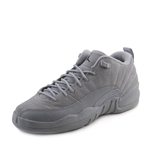 Jordan Nike Boys Air 12 Retro Low BG Wolf Grey/Armory Navy Suede Size 4.5Y (Jordan Air Xii Retro Low)