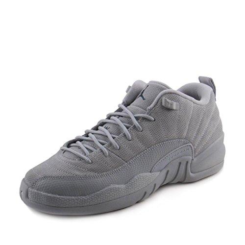 Jordan Nike Boys Air 12 Retro Low BG Wolf Grey/Armory Navy Suede Size 4.5Y (Retro Jordan Air Low Xii)