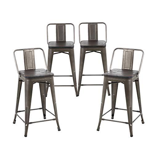 Buschman Set of 4 Bronze Wooden Seat 24 Inch Counter Height Metal Bar Stools with Medium Back, Indoor/Outdoor (Bronze Stool Bar)