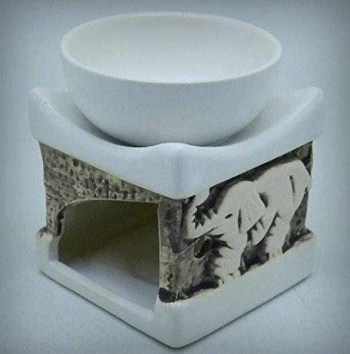 White Ceramic Square Elephant Design Tart & Candle & Oil Warmer Potpourri Oil Burner MY-2934