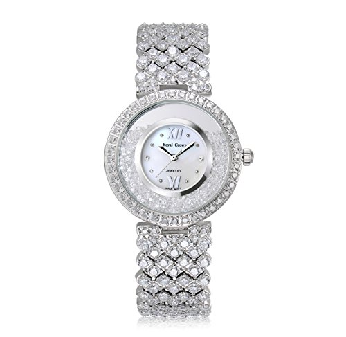 Royal Crown Women's Crystal-Accented Luxury Silvery-Tone Bangle Watch Jewelry Series Women Fashion ()