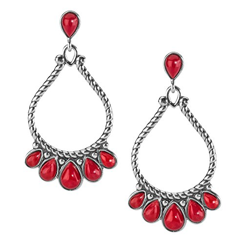American West Sterling Silver Red Coral Earrings - Classics Collection