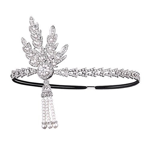 [Litluxe 1920s Gatsby Wedding Crystal Imitation Pearl Leaf Headband (B-Silver)] (The Great Gatsby Costumes To)
