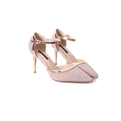 DALL Zapatos de tacón Ly-601 Brillante Uppers Primavera Y Verano Zapatos De Mujer Apuntado Cabeza Tacones Sandalias 8.7cm De Alto (Tamaño : EU 38/UK5.5/CN38)
