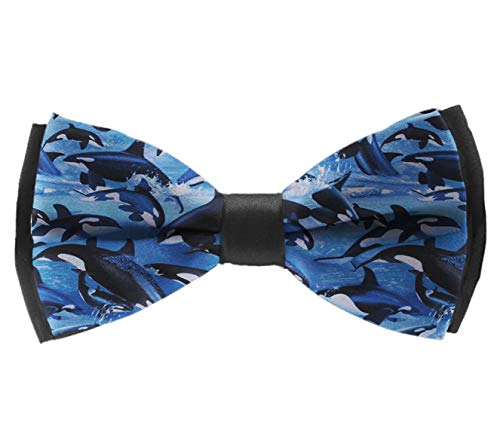 L Wright-King Men's Pre Tied Adjustable Bowties for Wedding Party Killer Whales Orcas Sea Animals ()