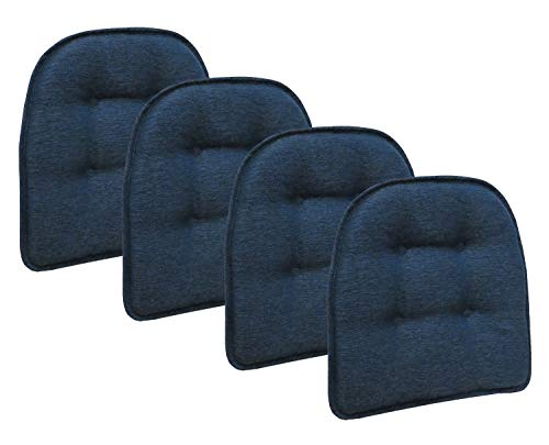 Klear Vu Omega Gripper Tufted Furniture Safe Non-Slip Dining Chair Cushion 4 Pack Indigo
