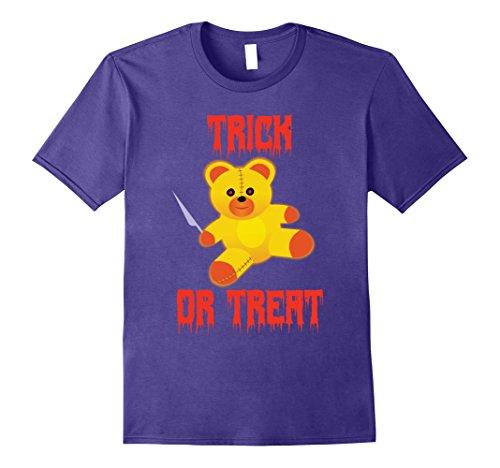 Mens Trick or Treat Scary Killer Teddy Bear Halloween Shirt Large (Killer Teddy Bear Costume)