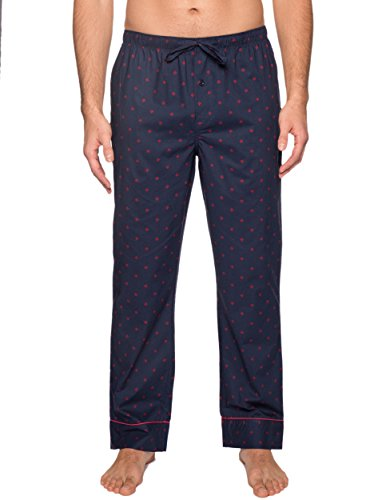 Mens Premium Cotton Lounge Pants - Burgundy-Navy Plaid - Medium