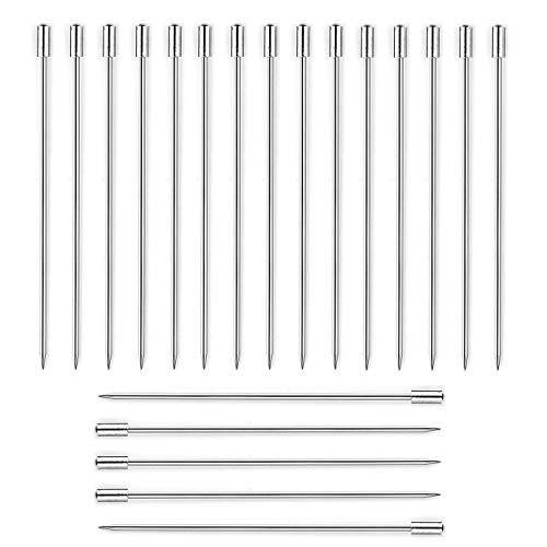 20 Pieces Stainless Steel Cocktail Picks Appetizer Pick Fruit Stick Toothpicks 4.3 Inch with Cylinder Head Style