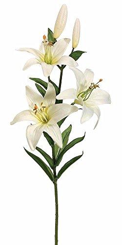 (2pc, Silk Flower Lily Spray in Cream White - 28