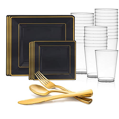 Disposable Plastic Dinnerware Set for 120 Guests - Includes Fancy Square Black & Gold Dinner Plates, Dessert/Salad Plates, Silverware Set/Cutlery & Cups For Wedding, Birthday Party & Other Occasions