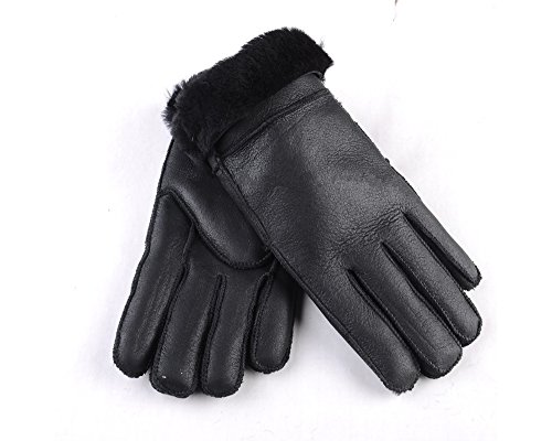 WARMIE Womens Soft Leather Australian Sheepskin Gloves For Womens | Premium, Soft & Fluffy (Medium, Black)