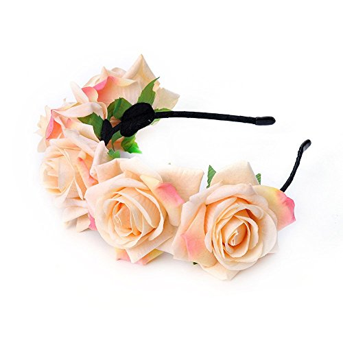 Flower Hat Band - DreamLily Rose Flower Crown Wedding Festival Headband Hair Garland Wedding Headpiece BC16(Light Yellow)