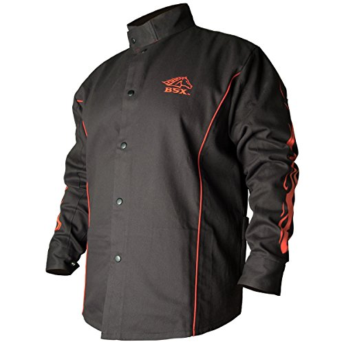 BLACK STALLION BSX® FR Welding Jacket - Black w/Red Flames - MEDIUM by Revco