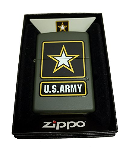 Zippo Custom Lighter - Green U.S. Army Black Star Primary Lo