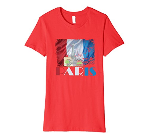 Womens Paris France Landmarks Vintage Look French Flag T-Shirt Large Red